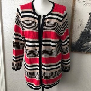 Kasper Cardigan Striped Knit Sweater Size Lrg